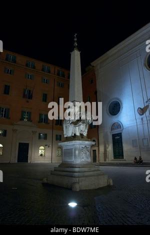 Elefantino in Piazza della Minerva in Rome, by night - Stock Photo