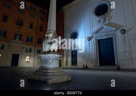 Rome, Italy. The basilica of Santa Maria sopra Minerva at night. - Stock Photo
