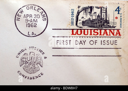 First day of issue postage cancellations. 1962 Louisiana, one hundred fifty years of statehood.(© Richard B. Levine) - Stock Photo