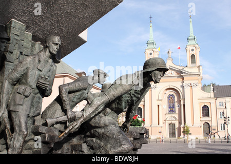 Warsaw Poland Monument to the 1944 Warsaw Uprising showing Polish resistance fighters at Plac Krasinskich in the - Stock Photo