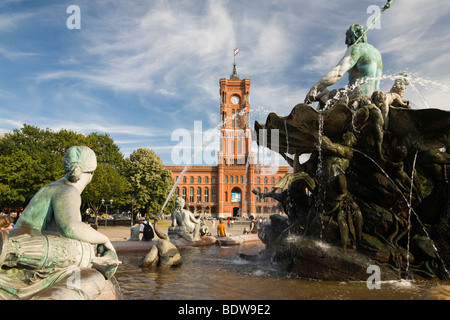 Neptune Fountain, Red Town Hall, Mitte, Berlin, Germany, Europe - Stock Photo