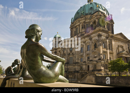 Sculpture 'Three Girls and a Boy' by Wilfried Reiter Fitze, Berlin Dome, Mitte, Berlin, Germany, Europe - Stock Photo