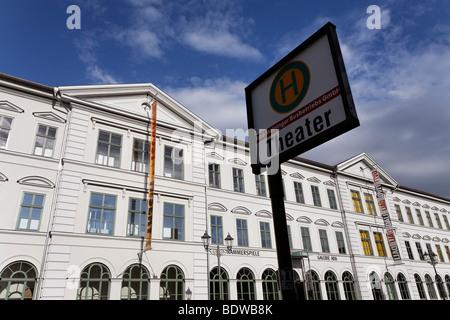 Former department store and school building, historic façade, renovated, Bernardstrasse street, Meiningen, Rhoen, - Stock Photo