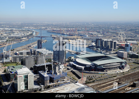 City centre bird's eye aerial view from Observation Deck on Rialto Tower Melbourne Australia - Stock Photo