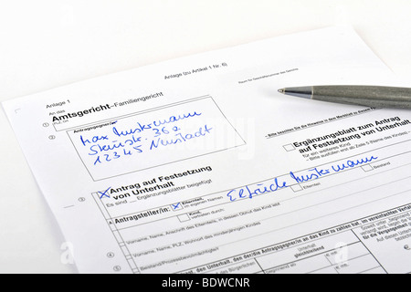 Application form for alimony at the district court - Stock Photo
