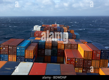 Container ship, sea, swell - Stock Photo