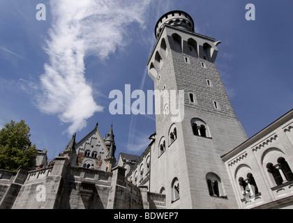 Courtyard with tower of Schloss Neuschwanstein castle in Fuessen, Bavaria, Germany, Europe - Stock Photo