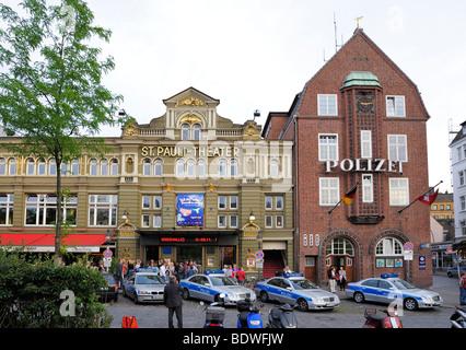 Davidwache police station and St. Pauli Theater, Hamburg, Germany, Europe - Stock Photo