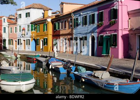 Brightly painted houses on Burano island in the Venice lagoon, Venice, Veneto, Italy, Europe - Stock Photo