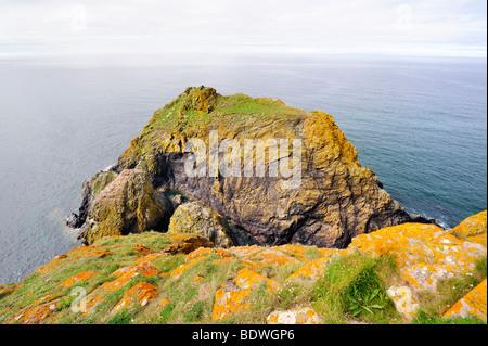 Rocks along the Atlantic coast of Cornwall at Lizard Point, Cornwall, England, UK, Europe - Stock Photo