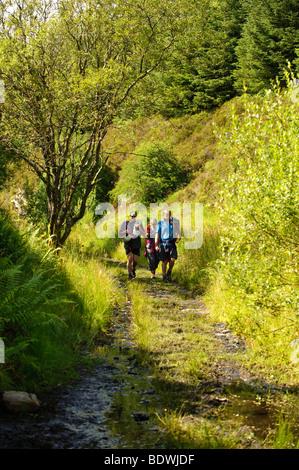 Walking along the courtesy footpath on the old rail track bed, Cwm Prysor, Snowdonia National Park, Gwynedd, North - Stock Photo