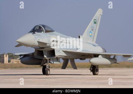 Modern military aviation. Royal Saudi Air Force Eurofighter Typhoon jet fighter aircraft - Stock Photo