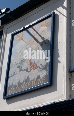 Old Neptune Public House on the beach at Whitstable kent england UK  pub sign - Stock Photo