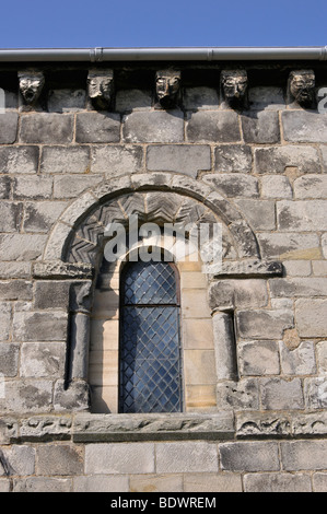 Norman window at St Cuthbert's Parish Church, Dalmeny, Scotland, UK. - Stock Photo