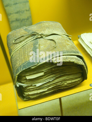 An early copy of the Quran at the American Museum of Natural History, New York City USA - Stock Photo