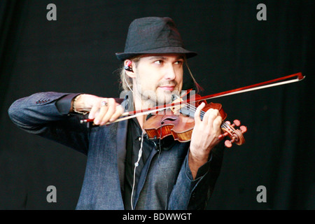 Star violinist David Garrett in an open-air performance at the movie nights at the bank of the river Elbe in Dresden, - Stock Photo