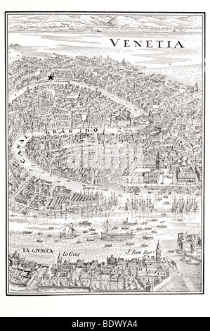 plan of venice 1640 star shows position of the jewish ghetto - Stock Photo