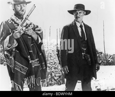 FOR A FEW DOLLARS MORE -  1965 PEA/Gonzales film with Clint Eastwood at left and Lee Van Cleef - Stock Photo