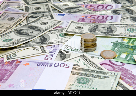 Global economy. International banknotes. Mixed currencies - Stock Photo