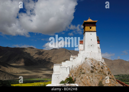 First and oldest fortress of Tibet, Yumbulagang, above the Yarlung valley, Central Tibet, Tibet, China, Asia - Stock Photo