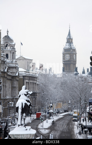 LONDON: BIG BEN AND CHARLES I STATUE IN SNOW - Stock Photo
