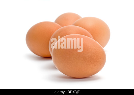 Group of brown chicken eggs isolated on white - Stock Photo