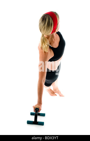 exercise fitness lateral lateral core stretch stretching fit woman lady middle age pretty push up push ups core - Stock Photo