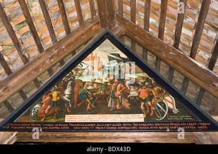 400-year-old paintings of Spreuer Bridge over the Reuss River, oldest bridge of Lucerne, Switzerland, built in 1407. - Stock Photo