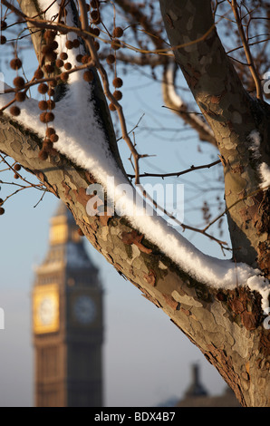 LONDON: BIG BEN IN THE SNOW - Stock Photo
