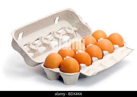 Fresh eggs in box isolated on white background