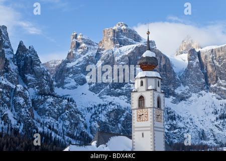 Church in Colfosco in Badia, Sella Massif mountain range, Dolomites, South Tirol, Trentino Alto-Adige, Italy - Stock Photo