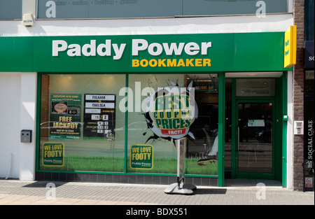 The entrance to the Paddy Power bookmakers in the centre of Stratford, East London, UK. - Stock Photo