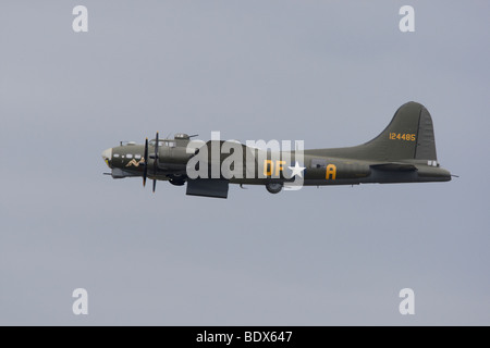 Boeing B-17G flying fortress in flight with bomb doors open at Duxford, Cambridgeshire, England, United Kingdom - Stock Photo
