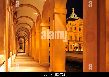 Arcade and courtyard, Schloss Rastatt castle, Rastatt, Schwarzwald, Baden-Wuerttemberg, Deutschland, Europa - Stock Photo