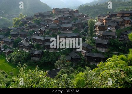 Xijiang, the largest village of the Miao minority in China, and rice terraces, Xijiang, Guizhou, South China, China, - Stock Photo