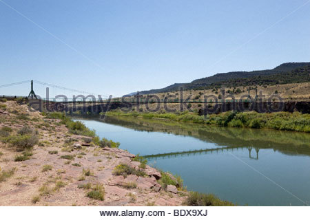 Narrow; one; lane; suspension; bridge; over; Green; River; Browns; Park; National; Wildlife; Refuge; northwestern; - Stock Photo