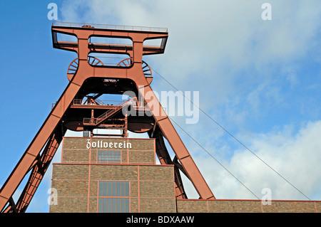 Shaft tower, Zeche Zollverein mine, industrial monument, UNESCO World Heritage Site, Essen, Ruhr area, North Rhine - Stock Photo