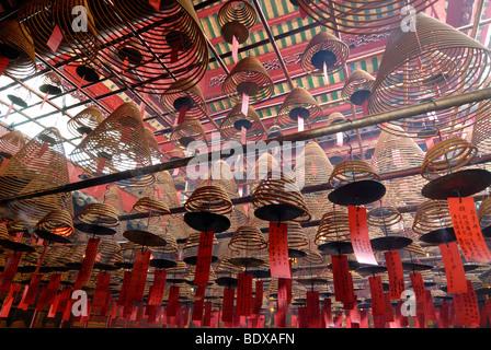 Incense as sacrifice in the Man Mo Temple, Hong Kong, China, Asia - Stock Photo
