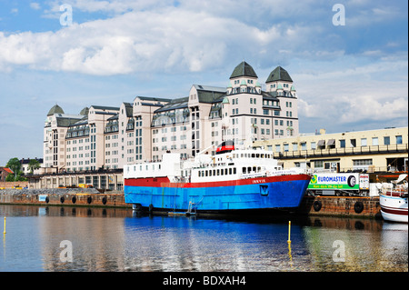 From the new opera to the old harbor store house havnelageret, Oslo, Norway, Scandinavia, Europe - Stock Photo