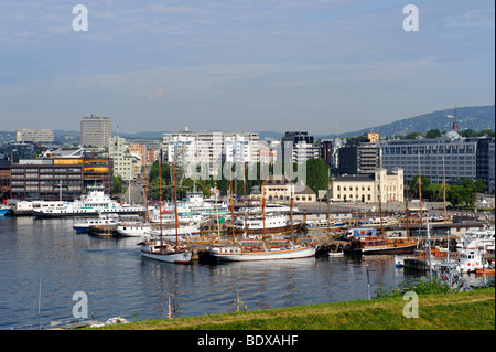 From the Akershus fortress to the marina and the building of the Nobel foundation, Oslo, Norway, Scandinavia, Europe - Stock Photo