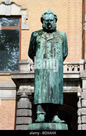 Henrik Johan Ibsen, 1828-1906, playwright and poet, sculpture at the National Theatre, Oslo, Norway, Scandinavia, - Stock Photo
