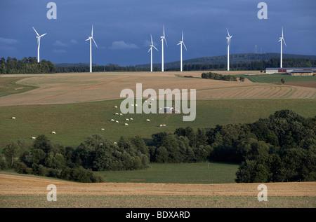 Wind farm near Kisselbach in the Hunsrueck region, Rhineland-Palatinate, Germany, Europe - Stock Photo