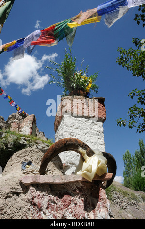 Animistic memorial with ibex horns in Stok, Ladakh, Northern India, India, Himalayas, Asia - Stock Photo