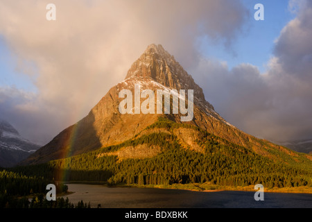 Swiftcurrent lake rainbow, Glacier National Park - Stock Photo