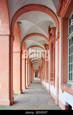 Arcade Schloss Rastatt castle, Rastatt, Black Forest, Baden-Wuerttemberg, Germany, Europe - Stock Photo