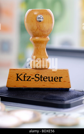Stamp labelled 'Kfz-Steuer', German for 'car tax' - Stock Photo