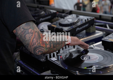 Techno Nature One Festival 2009, DJ Dag, Kastellaun, Rhineland-Palatinate, Germany, Europe - Stock Photo
