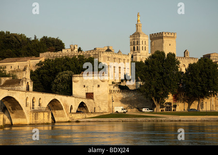 Cityscape Avignon with Rhone-Pont St. Benezet bridge, Palais des Papes, Pope's Palace, cathedral and river Rhone - Stock Photo