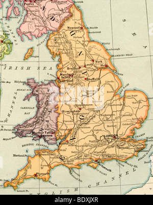 Old map of england from original geography textbook 1884 stock original old map of england and wales from 1875 geography textbook stock photo gumiabroncs Gallery