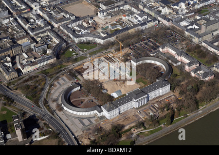 Aerial photograph, construction site of the Bundesgartenschau Federal Horticultural Show BUGA 2011 next to the Kurfuerstliche - Stock Photo